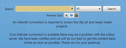 online server down, no clip art?