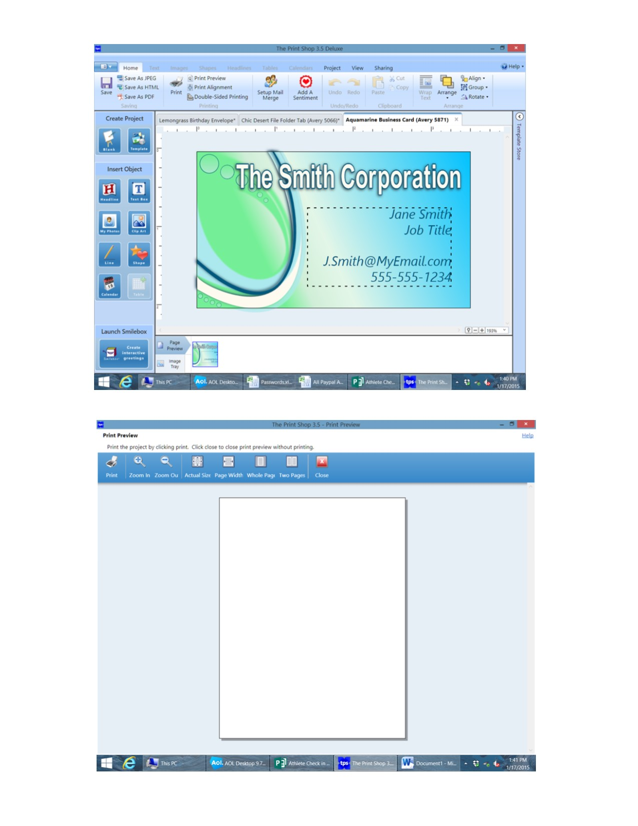 Printshop 35 wont print business card or label template while i see the project in the project window when i go to print preview i see only a blank page reheart Images