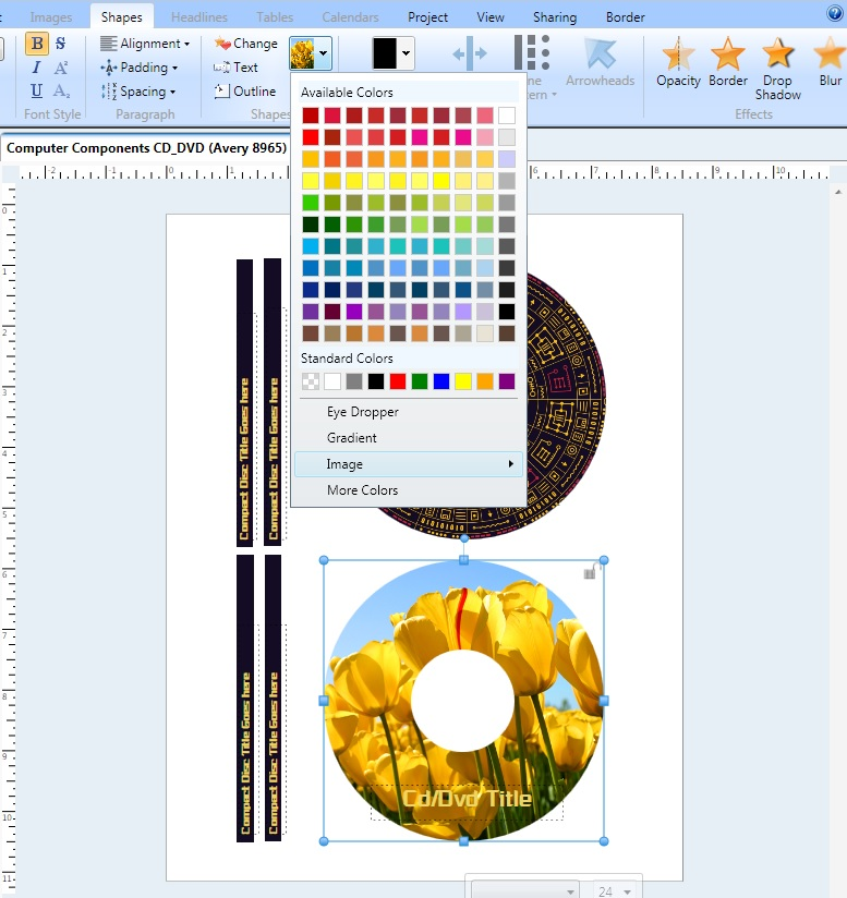how do i create a new cd dvd label project from scratch